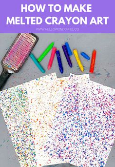 This melted crayon art is a fun and colorful art and craft activity for kids. A great way to reuse and recycle old or broken crayons! Old Crayon Crafts, Wax Crayon Art, Melted Crayon Crafts, Sharpie Crafts, Crafts With Crayons, Crayons Fondus, Broken Crayons, Melted Crayons, Melting Crayons On Pumpkins