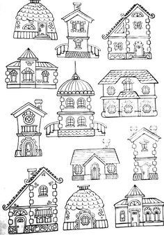 Doodles hand drawn simple lines buildings Adult Coloring Pages, Colouring Pages, Coloring Books, Doodle Art, Doodle Drawings, Easy Drawings, House Doodle, House Illustration, House Quilts