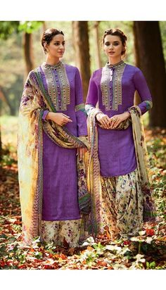 Purple Cotton And Satin Patiala Salwar Suit With Printed Dupatta - DMV14684