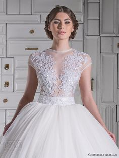 http://www.weddinginspirasi.com/2014/09/30/chrystelle-atallah-spring-2014-wedding-dresses/ Chrystelle Atallah spring 2014 #bridal collection: illusion cap sleeve princess ball gown #wedding dress close up #weddingDress #weddingGown