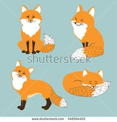 Set of cute cartoon foxes. Vector illustration.