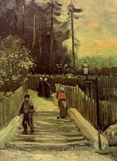 Vincent van Gogh: Sloping Path in Montmartre. Oil on cardboard on multiplex board.  Paris: Spring, 1886.  Amsterdam: Van Gogh Museum.