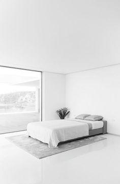 Interior Minimalismus Schlafzimmer, Schlafzimmer Einrichten,  Innenarchitektur, Bett, Zuhause, Raum, Monochromes
