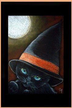 Art: BLACK CAT 233 - HALLOWEEN by Artist Cyra R. Cancel