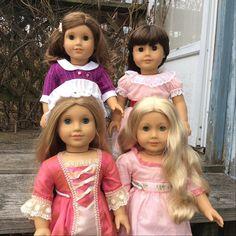 December photo challenge by @luvagcustoms , day 13:Historical Dolls. My four historical beauties- Rebecca, Samantha, Elizabeth and Caroline. #agphotojoy #agig #joytoeverygirl #americangirldoll #agigphotojoy