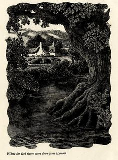 Charles Frederick Tunnicliffe (British, 1901-1979). Frontispiece for Negley Farson's Gone Fishing. (wood engraving)