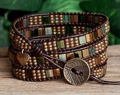 Green and Bronze Tile Beaded Leather Wrap Bracelet, Bohemian Artisan Jewelry For Her - Tile Beaded Leather Wrap Bracelet Green Bronze Miyuki Bead The Effective Pictures We Offer You Abou - Bead Loom Bracelets, Beaded Wrap Bracelets, Bohemian Bracelets, Beaded Jewelry, Miyuki Beads, Beaded Leather Wraps, Bronze, Bracelet Cuir, Jewelry For Her