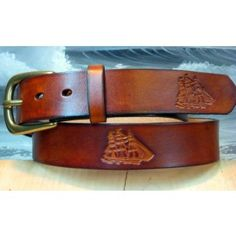 Clipper Ship Hand Tooled Belt Handmade from Cellar Leather
