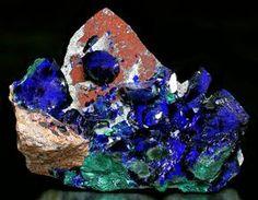 Azurite on Malachite from Mexico