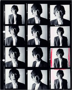 Mick Jagger contact sheet from a David Bailey photo shoot vintage music classicrock singer songwriter musician icon mickjagger therollingstones fashion style mensfashion photography photographer davidbailey portrait contactsheet blackandwhite sixties Brian Duffy, Sharon Tate, Rolling Stones, Pink Floyd, Elizabeth Ii, David Bailey Photography, John Cole, Twiggy, Contact Sheet