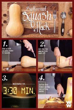 Peeling a butternut squash? Psh, no biggie! Double click for the full video & delicious squash recipes!