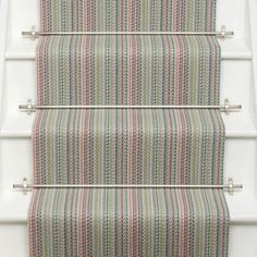 Roger Oates Kobe Jade stair runner carpet with Brushed Nickel stair rods fitted to white painted staircase Carpet Staircase, Hallway Carpet, Hallway Designs, Hallway Ideas, Carpet Shops, Porch Flooring, Carpet Styles, New Carpet, Carpet Runner