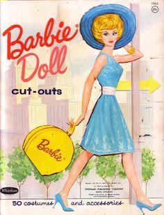 Vintage Mattel Barbie - paper dolls folder. Barbie in turquoise. @ 1963