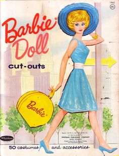 Vintage Mattel Barbie - paper dolls folder. Barbie in turquoise. @ 1963