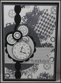 """The """"Clockworks"""" stamp set has some great background stamps which I have used on Whisper White cardstock with Basic Gray and Staz On Black ink-Simply Serif Mini Alphabet which is a great size to make your own words and sentiments for cards and scrapbook pages. I stamped the sentiment on the Neutrals DSP,"""
