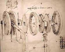 LEONARDO DA VINCI ENGINEER SKETCH MACHINE GEARS DRAWING REAL CANVASART PRINT