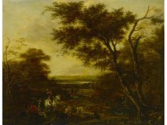 A wooded landscape with huntsmen and their dogs by Jan Asselijn