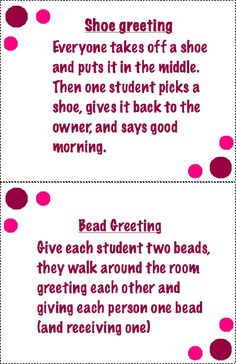 Morning meeting greetings styled scribd classroom activities this is a collection of some morning meeting greetings you can use in early childhood classrooms m4hsunfo