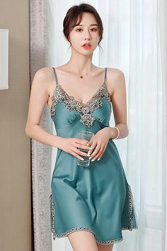 Asian Lingerie, Lingerie Dress, Pretty Lingerie, Women Lingerie, Sexy Lingerie, Silk Sleepwear, Sleepwear Sets, Night Dress For Women, Fashion Tights