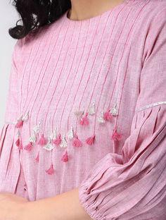 Pink Khadi Cotton Kurta is part of Kurti sleeves design - Neckline Designs, Neck Designs For Suits, Sleeves Designs For Dresses, Dress Neck Designs, Stylish Dress Designs, Blouse Designs, Simple Kurti Designs, Salwar Designs, Kurta Designs Women