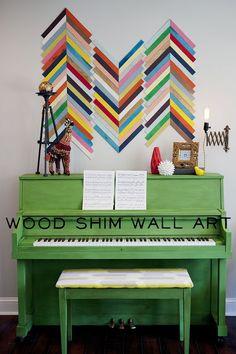 DIY wall art.  Full tutorial from EC2 blog.  Wood shim art