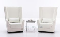 Modern White Leather Set of Two Chairs (Optional Coffee Table)