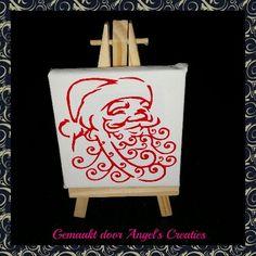 Klein schilderezeltje voorzien van kerstman. TE KOOP