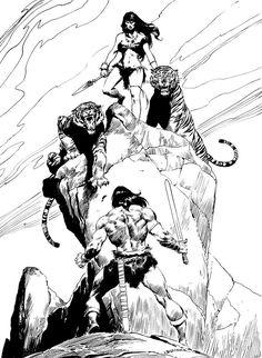Conan the Barbarian Art — Artist: John Buscema Comic Book Artists, Comic Book Characters, Comic Artist, Comic Books Art, Red Sonja, Conan Der Barbar, Black And White Comics, John Buscema, Sal Buscema