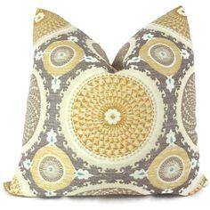 Yellow and Gray Suzani Decorative Pillow Cover, 18x18, 20x20, 22x22 Throw Pillow, Toss Pillow, Pillow Case, Accent Pillow. $48.00, via Etsy.