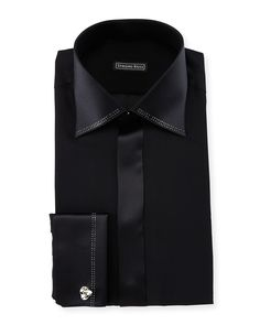 Stefano Ricci tuxedo shirt with crystallized-trim. Spread collar; concealed button front. French cuffs; cuff links not included. Shirttail hem. Silk. Made in Italy.