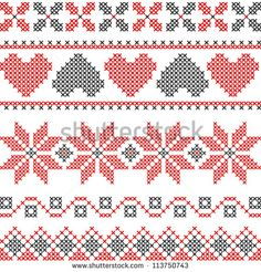 Vector cross stitch embroidery in Christmas style, can be used for decoration, package design - stock vector Xmas Cross Stitch, Cross Stitch Rose, Cross Stitch Borders, Cross Stitch Samplers, Cross Stitch Designs, Cross Stitch Embroidery, Cross Stitch Patterns, Cross Stitches, Tapestry Crochet Patterns