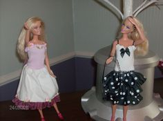 Easy to make Barbie dresses sewn from the top of a child's sock and ribbon or fabric scraps.