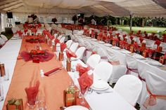 Red & Orange wedding table set-up. Live gold fish (and each and every one of them survived the night!!) :)