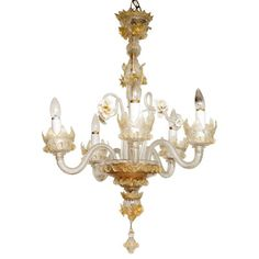 Vintage Murano Chandelier with floral accents