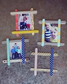 These cute little frames are made from popsicle sticks, paint, glue.  You can decorate them with most anything you like, glitter, buttons, etc.