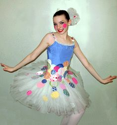 "These costumes were created for the Ballerina Dolls of The Nutcracker. The Wardrobe Department provided me with brand new, white tutus and colorful bodices that were a couple of inches too short.  The choreographer requested a playful ""Dippin' Dots"" theme, and I customized middle pieces to pull the separates together into a cohesive look."