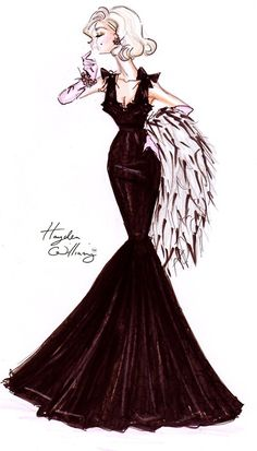 'Lace Affair' by Hayden Williams ~ fashion illustration black evening gown