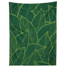 Arcturus Lime Green Leaves Tapestry | DENY Designs Home Accessories