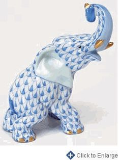 Herend Hand Painted Porcelain Figurine of Elephant Trunk Up, Blue Fishnet w Gold Accents.