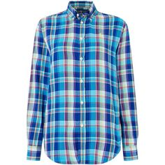 Polo Ralph Lauren Evie relaxed long sleeve check shirt ($58) ❤ liked on Polyvore featuring tops, blue, clearance, woven shirts, shirt tops, long sleeve woven shirt, checkered shirt and woven top