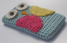 Owl Cell Phone Cover Crochet IPhone case, must figure out how to make!