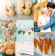 Teal Blue Wedding Theme   peach cupcakes by dolce sway my way bride and groom under peach ...