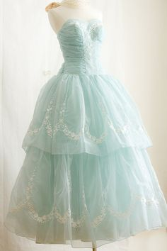 1950s  Prom Dress, in Tiffany Blue - Embroider STRAPLESS Party Dress via Etsy