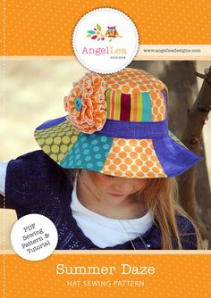 fairytale frocks and lollipops :: angel lea designs, summer daze hat, girl, boy, baby, infant, toddler, child, hat, bucket, swim, pool, beach, play, school, accessory, summer, spring, fall, sewing, instant, download, pdf, e-book, tutorial, digipattern