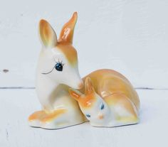 Vintage Deer and Fawn Porcelain Mama DEER Baby Deer Autumn. $24.00, via Etsy.