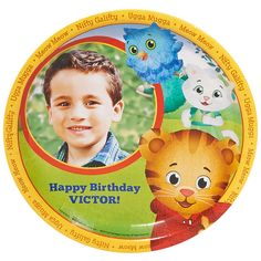 Daniel Tiger's Neighborhood Personalized Dinner Plates on BirthdayExpress.com - We bet your child is so cute that you just want to gobble them up. We don't recommend that, but we DO encourage you to personalize these grr-ific dinner plates. Add a picture, a message, and top with a meal! :)