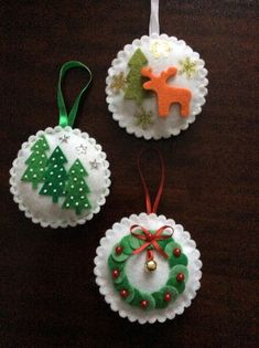Christmas baubles You are in the right place about Diy Felt Ornaments how to make Here we offer you Felt Christmas Decorations, Felt Christmas Ornaments, Christmas Crafts, Christmas Projects, Felt Crafts, Holiday Crafts, Theme Noel, Christmas Sewing, Homemade Christmas
