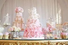Ombre wedding cakes are one of the most popular type of cakes. Mix ombre effect with flowers, ruffles and watercolor wedding cakes to impress your guests. Wedding Cakes With Cupcakes, Cool Wedding Cakes, Beautiful Wedding Cakes, Beautiful Cakes, Amazing Cakes, Beautiful Things, Dessert Bar Wedding, Wedding Desserts, Pink Ombre Cake