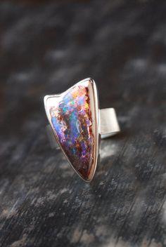 Dollybird Rainbow Fire Opal Ring by dollybirddesign on Etsy, $245.00