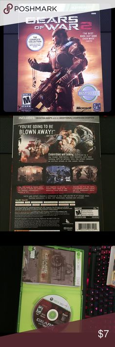 Xbox 360 Gears of War 2 Played a few times. Still in original clamshell with cardboard sleeve over it. Great condition! For Xbox 360. Put it in the men's category for no real reason - this is obviously just as much for ladies! Other